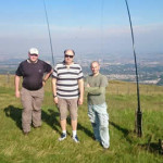 Martin 2M0KAU, Jonathan VK6JON and Mark MM6BJJ (left to right) on summit of Allermuir Hill